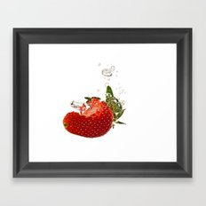 Strawberry splash Framed Art Print