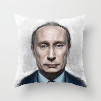 putin Throw Pillows featuring Vladimir Putin by Pavel Sokov