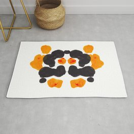 Orange & Black Inkblot Rorschach Diagram Rug