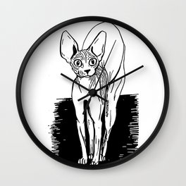 Black and White Sphynx Cat Line Drawing - Sphynx Lovers Gift - Naked Cat - Wrinkly Kitty Wall Clock