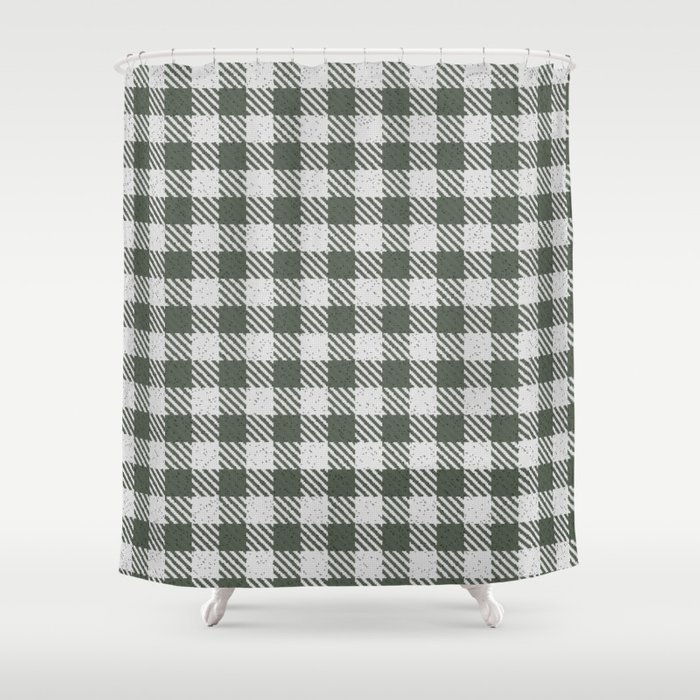 Ebony Buffalo Plaid Shower Curtain By Detnecs