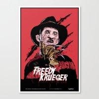freddy krueger Canvas Prints featuring Freddy Krueger by Victor Berbel