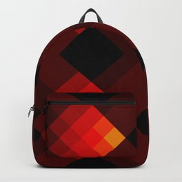 Red Lucy - Abstract Minimal Geometric Retro Pattern Backpack