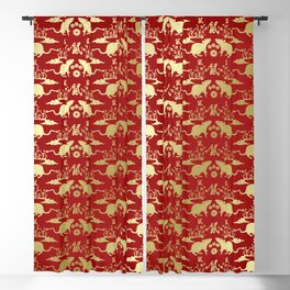 Chinese New Year of The Rat Pattern - Red and Gold Blackout Curtain