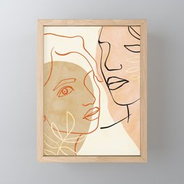 abstract face line-art Framed Mini Art Print