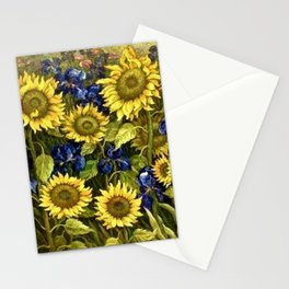 Sunflowers & Blue Irises by Vincent van Gogh Stationery Cards