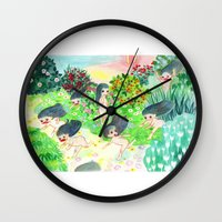 psychedelic Wall Clocks featuring Psychedelic by Risahhh