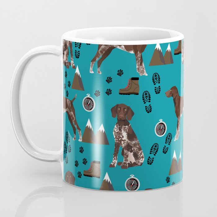 German Shorthair Pointer mountain hiking hiker outdoors camping dog breed Coffee Mug