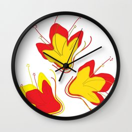 Abstract Vector Digital Art Golden Flowers Wall Clock