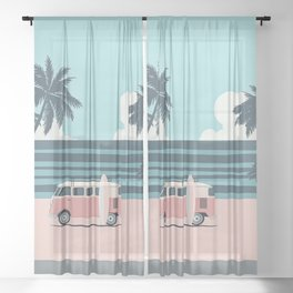 Surfer Graphic Beach Palm-Tree Camper-Van Art Sheer Curtain