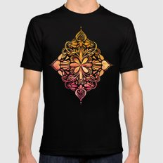Sunset Art Nouveau Watercolor Doodle 2X-LARGE Mens Fitted Tee Black