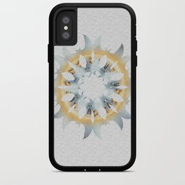 Yellow and blue fire sun shaped graphic on white embossed background. iPhone Case