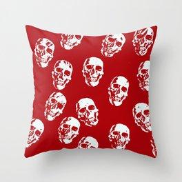 Hot Skulls, red white Throw Pillow