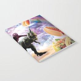 Space Sloth Riding Dinosaur Unicorn - Hotdog & Taco Notebook