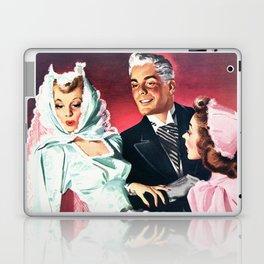 Vintage Illustration Wedding of Bride and Groom Laptop & iPad Skin