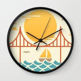 San Francisco Golden Gate Bridge Illustration Wall Clock