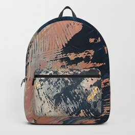 Hidden Gem [3]: an abstract mixed media piece in pink, blue, gold and white Backpack