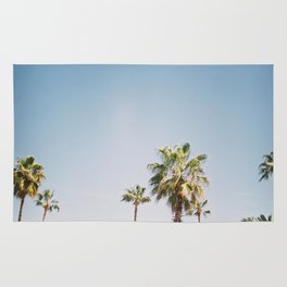 Palmtrees in Barcelona Europe | Blue Sky, Green Palm Trees Tropical vibe Rug