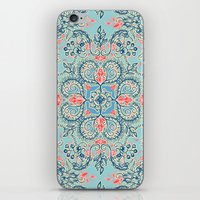bedding iPhone & iPod Skins featuring Gypsy Floral in Red & Blue by micklyn