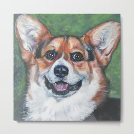 Pembroke Welsh Corgi dog portrait painting by L.A.Shepard fine art Metal Print