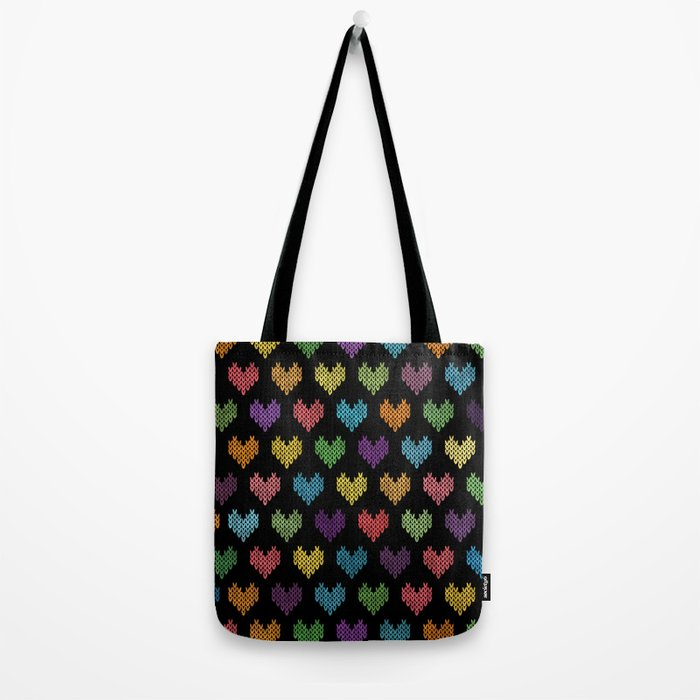 Colorful Knitted Hearts Tote Bag