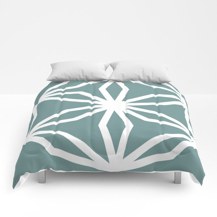 CUBIC FLOWER PATTERN - blue Comforters