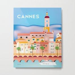 Cannes, France- Skyline Illustration by Loose Petals Metal Print