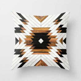 Urban Tribal Pattern 5 - Aztec - Concrete and Wood Throw Pillow