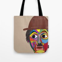charlie chaplin Tote Bags featuring Charlie Chaplin by JeeArt