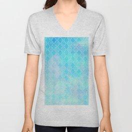 Liquid blue Moroccan print Unisex V-Neck