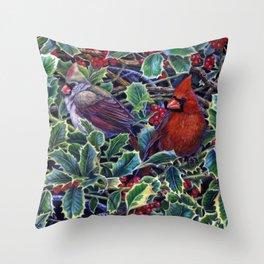 Cardinals and Holly Throw Pillow