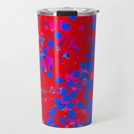 blue on red, circles Travel Mug
