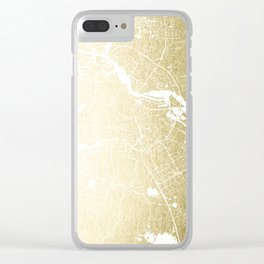 Amsterdam Gold on White Street Map Clear iPhone Case