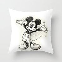 mickey Throw Pillows featuring Mickey Mouse by Herself