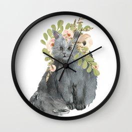 cat with flower crown Wall Clock