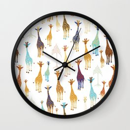 Giraffe of a different Color: white background Wall Clock