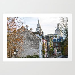 French street in Montmartre, Paris Art Print