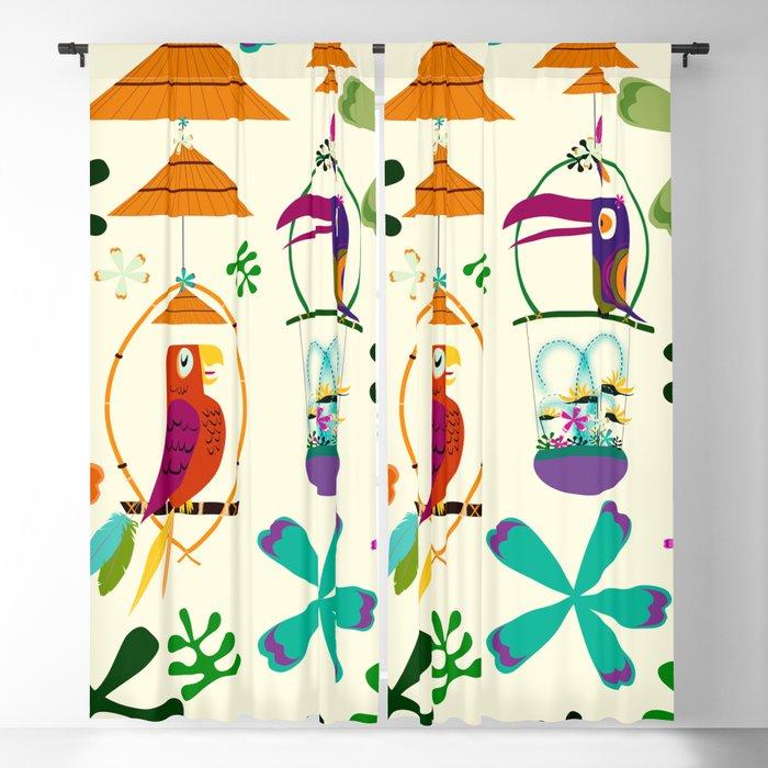 Vintage Modern Tiki Birds Blackout Curtain