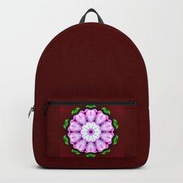 Purple White Flower on Burgundy Pattern Backpack
