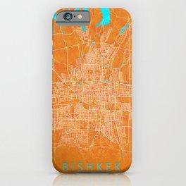 Bishkek, Kyrgyzstan, Gold, Blue, City, Map iPhone Case