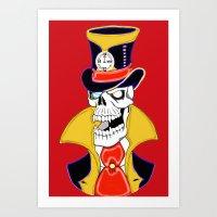 steam punk Art Prints featuring Steam Punk Vampire Skull by J&C Creations