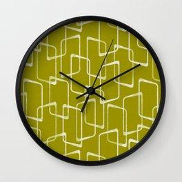 Acid Green Retro Geometric Pattern Wall Clock