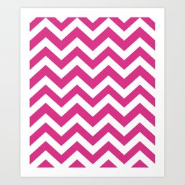 Deep cerise - fuchsia color - Zigzag Chevron Pattern Art Print