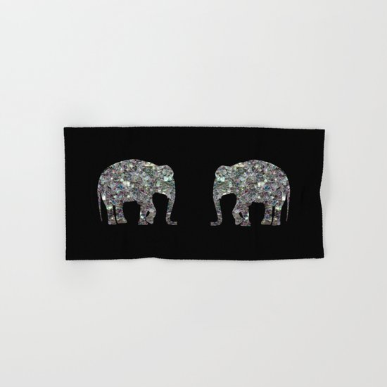 Sparkly colourful silver mosaic Elephant Hand & Bath Towel