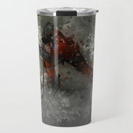 On Ice - Ice Hockey Player Modern Art Travel Mug