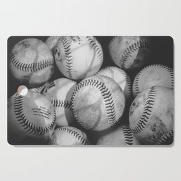 Baseballs in Black and White Cutting Board