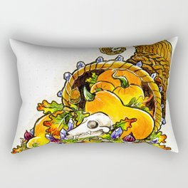 Cornucopia with squash, figs, acorns, crystals, and bat skull Rectangular Pillow