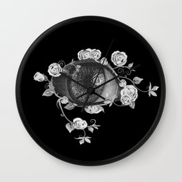 Eye with roses, flowers, nature Wall Clock