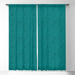 Teal Green Grunge Flowers and Hearts Pattern Gift Ideas Blackout Curtain