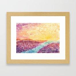 Magical Sunset Watercolor Illustration Framed Art Print